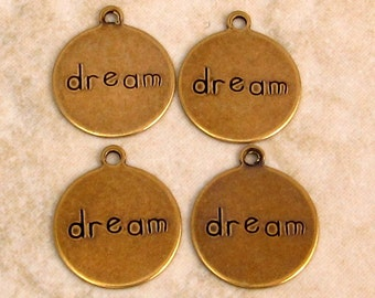 Dream Affirmation Charm, Antique Gold, Trinity Brass, 4 Pc. AG242