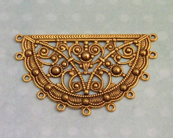 Brass Filigree Connector, Antique Gold AG246
