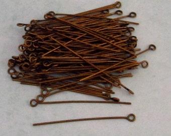 1.5 Inch Eye Pins, Antique Brass, Brass Ox, 100 pieces, AB82