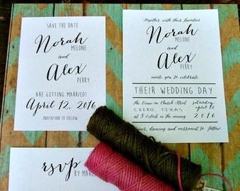 Modern Save the Dates: simple, preppy wedding