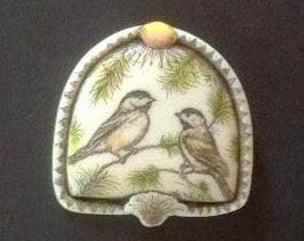 Chickadee bird scrimshaw technique reproduction pin