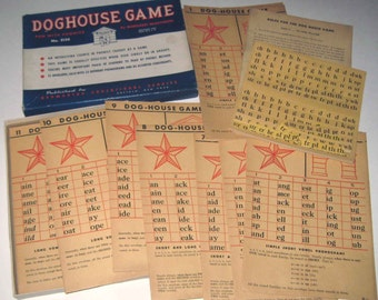 Vintage 1940s Fun With Phonics Doghouse Game by Kenworthy Educational Service
