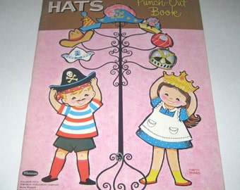 Fun Hats Easy to Do Punch Out Book Vintage 1960s Book for Children by Whitman