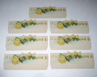 Vintage Place Cards with Yellow Rose and Ribbon Set of 7