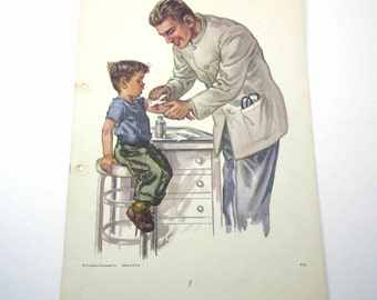Vintage 1950s Over Sized School Picture Card or Poster with Little Boy and Doctor