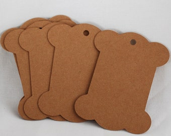 50 Count - Blank Gift Tag - Price Tag - Thick Brown Paper Spool