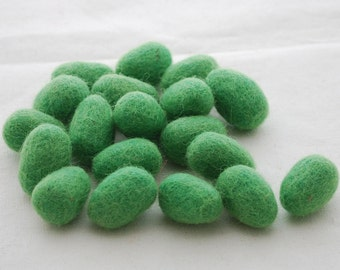 100% Wool Felt Eggs - 10 Count - Felted Mini Eggs - approx 18mm x 28mm - Green Flash