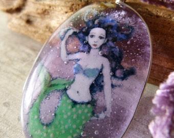 Amazing Mermaid in the water - fused glass pendant - mermaid nekclace