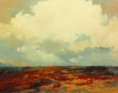 GLORIOUS, oil landscape painting original 100% charity donation, 9X12 canvas  panel, clouds, field