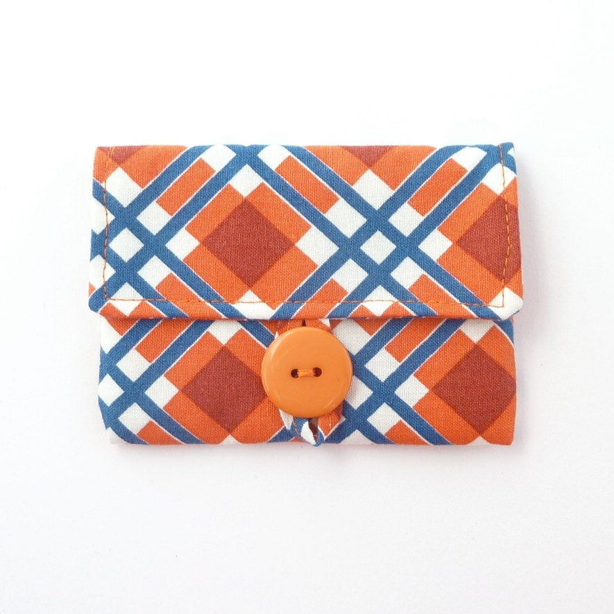 plaid cute card case womens card holder orange navy fabric pouch