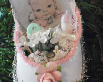 Baby's First Christmas -Handmade  Dresden Style Ornament