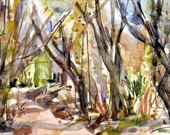 Original watercolor, Hilleary Park,  Poway, San Diego, California.
