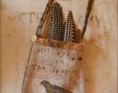 Sparrow Pocket FREEHAND Cross Stitch PATTERN - from Notforgotten Farm