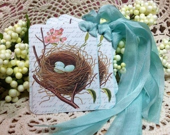 Blue Bird Nest Gift Tags  Blue Bird Eggs In Nest  Nature Gift Tags  Set of 6 Gift Tags  Cottage Style tags
