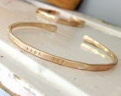 Single Personalized whisper cuff - choice of Rose Gold filled - Gold filled or sterling silver