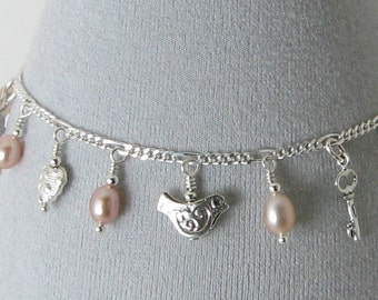 Romantic Natural Pink Pearl and Sterling Silver Charm Bracelet