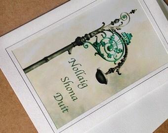 Irish Language Christmas Card Nollaig Shona Duit Merry Christmas Greeting Card Blank Photo Green Card Dublin Ireland Lamppost Lamp Post
