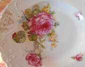 vintage rimmed soup bowl pair, GORGEOUS shabby pink full cabbage roses, with cottage chic florals and colors, embossing, gold work