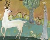 """Fine Art Print, """"The White Deer"""", woods, nature, folk art"""
