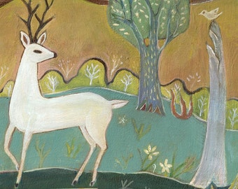 "Fine Art Print, ""The White Deer"", woods, nature, folk art"