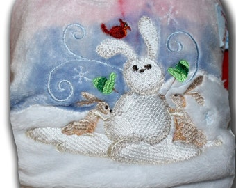 Snow Bunnies - Small Organic Bamboo Velour All in Two AI2 Cloth Diaper
