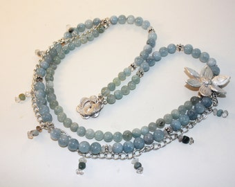 Amazonite and Metal Clay Necklace