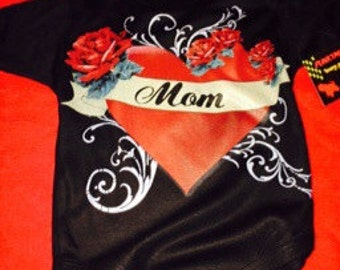 nwt black bodysuit or toddler tee of heart and roses wording mom