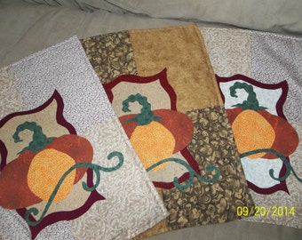 Applique Wallhangings for Fall Time!  Pumpkins, Different Colored Background Blocks, Green Scrolls