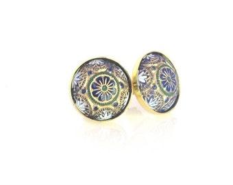 Post Earrings,Mosaic Post Earrings, Blue Baroque Earrings