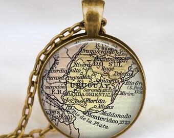 Uruguay map  necklace, Uruguay South  America map pendant ,  Uruguay glass dome pendant,map jewelry