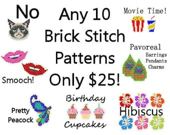 10 Brick Square Stitch Patterns for 25.00 Peacock Earrings Holidays Charms Beading Seed Bead Patterns Pattern Pack