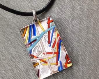 Tile Necklace - Foil Glass Pendant - Primary Colors - Black Leather Cord
