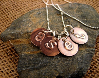 Hand Embossed Family Copper Mini Discs Necklace