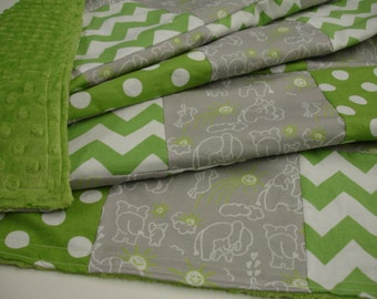 Elephants You Are My Sunshine in Green and Gray Minky Patchwork Blanket You Choose Size MADE TO ORDER No Batting