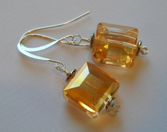 Faceted Golden Champagne Chrystals Squares, Wire Wrapped, availabe with god wires