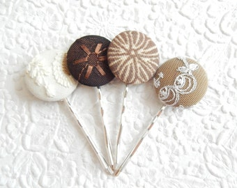 4 brown hair-pins, embroidered hairpins, fabric hairpins, 1 1/8 inch hairpins, hair accessory, womens accessory