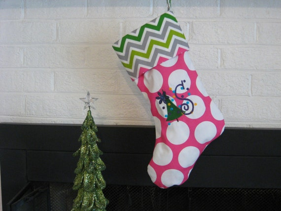 Personalized Christmas Stocking Chevron and Dots