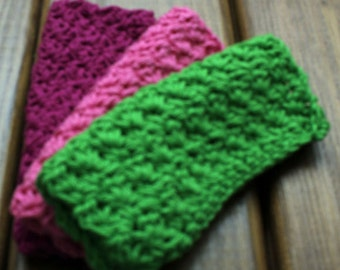 Spring is in the Air Cotton Crochet Wash Cloths - Set of 3