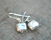 White Square Freshwater Pearl Sterling Silver Earrings, Pearl Jewelry, June Birthstone Earrings