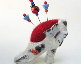 SHOP CLOSING SALE - Pin Cushion - Needle Felted - In Vintage Ceramic Shoe With Butterfly And Ladybug