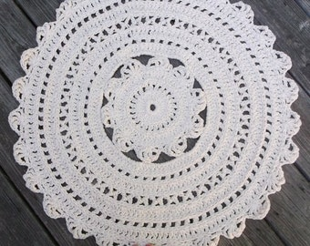 "Ecru Off White Cotton Crochet Rug 30"" Circle Pattern Non Skid"