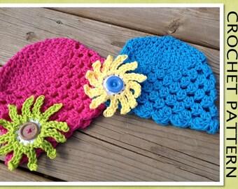PDF Crochet Pattern - Cayleigh Cotton Beanie Hat with SUNBURST FLOWER - Newborn to Adult