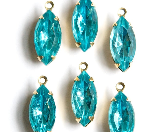 Vintage Aqua Blue Glass Navettes 1 Loop Brass Setting nav001PP