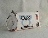 Square Wristlet  Zipper Pouch - Cute Owl