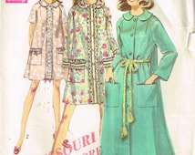 8458 Simplicity Misses House Robe has front closing, pockets and tie belt sewing pattern size 16-18 bust 38-40 vintage 1960's |Free Shipping
