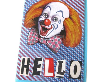 Funny Hello Card // Blank // Anytime Art Card // Creepy Clown