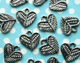Heart Wing Charms - Set of 15 - Antique Silver Finish Heart Charms (SC0008)