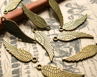 30mm Bronze Wing Charms - Set of 10 - Bronze Angel Wings, Bronze Wing Pendants, Antique Bronze Finish Wings, Lead-Free, Nickle-Free (BC0007)