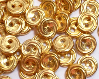 Gold Buttons, Vintage Goldtone Metal Coated Plastic Core Buttons 5/16 inch diameter x 100 pieces Tiny Buttons, Braided Edge