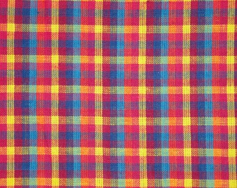 Cotton Fabric | Homespun Fabric | Check Fabric | Multi Color Check | 1 Yard
